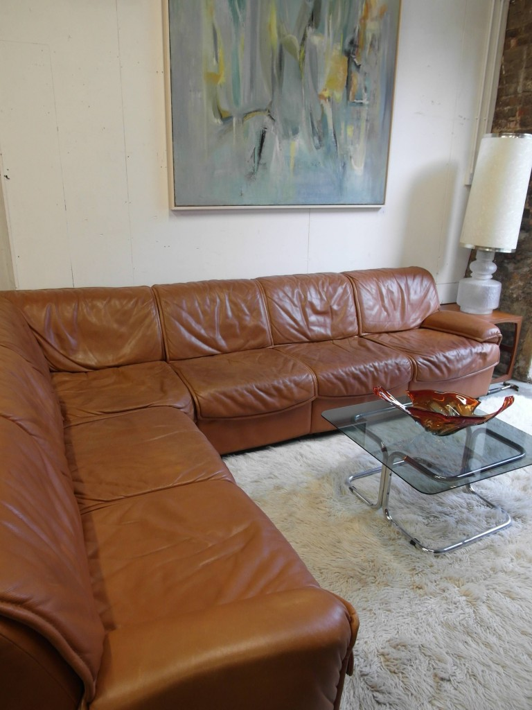 Vintage De Sede Modular Sofa in Cognac Neck Leather £4500 SOLD