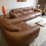 RARE 1970's De Sede Sofa and Armchair in Tan Neck Leather £2495