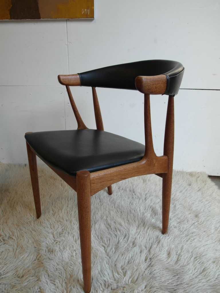 Vintage Danish Chair by Johannes Andersen in Teak and Black Leather £175