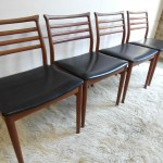 Set of Four Vintage Danish Dining Chairs in Solid Teak and Leather £295