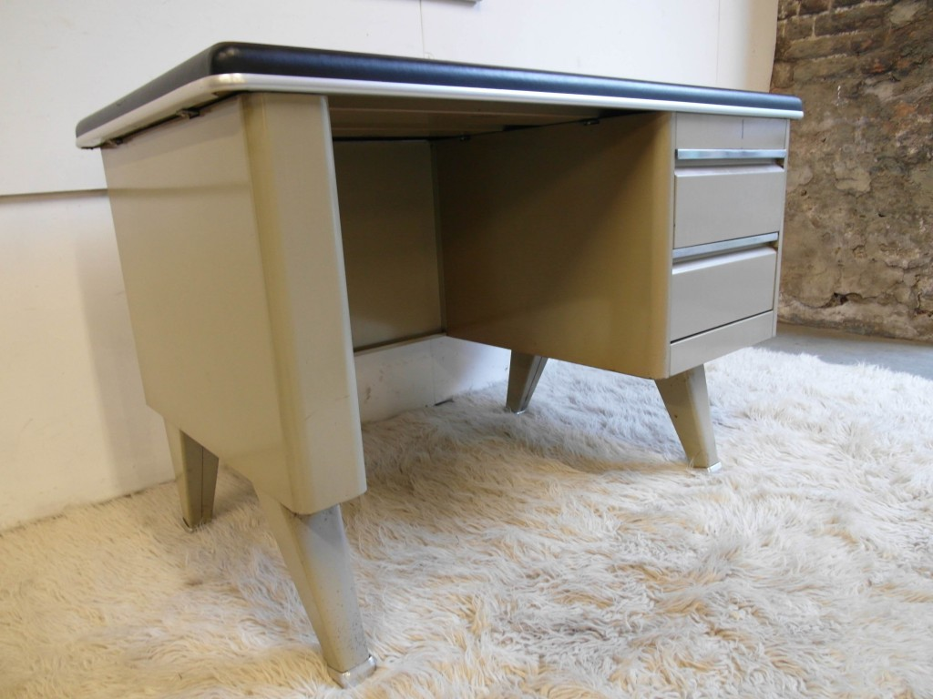 1950's Small Steel Industrial Desk by Sclessin £495