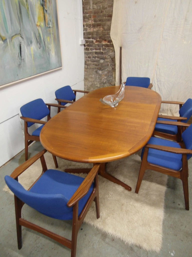 Vintage Danish Teak Extending Table and Six Carver Chairs £695