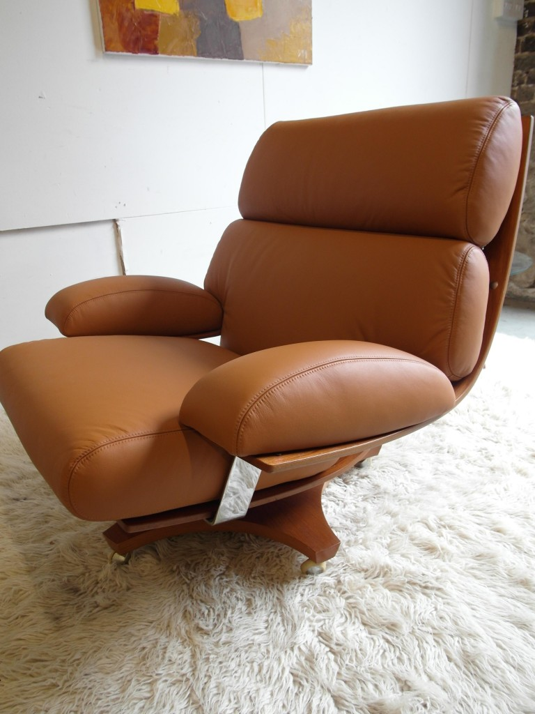 Rare Ib Kofod Larsen Housemaster Swivel Chair in Cognac Leather £1495
