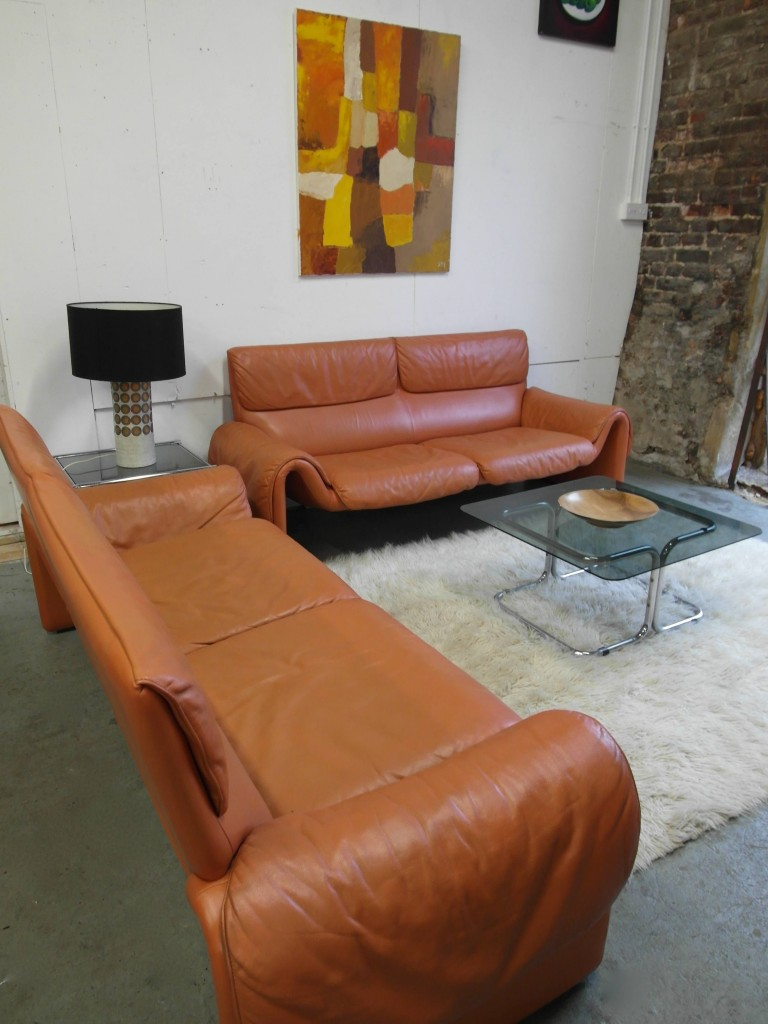 "Matching pair of Vintage De Sede DS2011 Sofa's in Cognac Neck Leather ""  £2000SOLD"