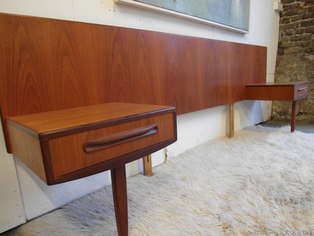 Vintage G Plan Fresco Headboard with Floating side Tables. In Teak £295