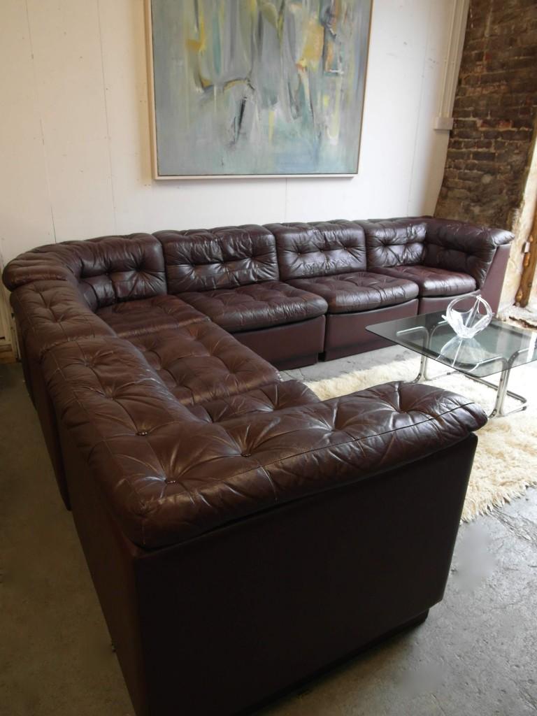Vintage Six piece Danish Modular sofa in Brown leather 1995