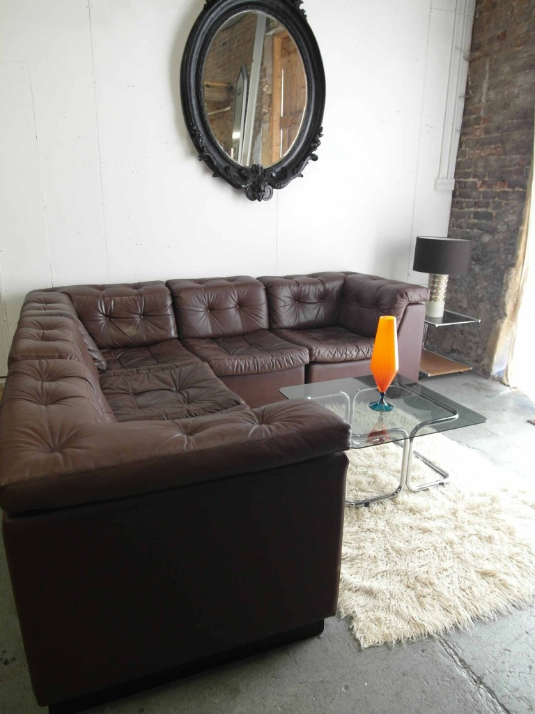 Vintage 1970's Danish Modular Sofa In Havana Brown Leather £2500 SOLD