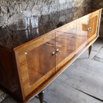 Vintage Mid Century Italian Lacquered Sideboard in Walnut and Sycamore 1495