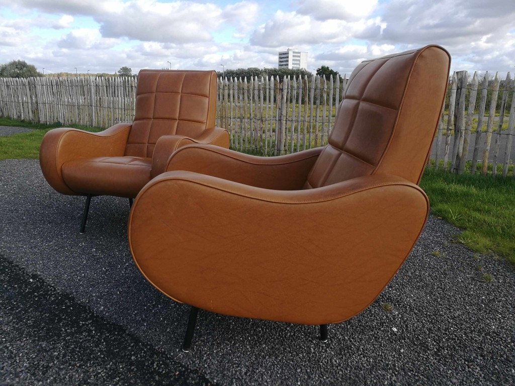 Matching Pair of Vintage 1950's Italian Zanuso Style Armchairs 1100 SOLD