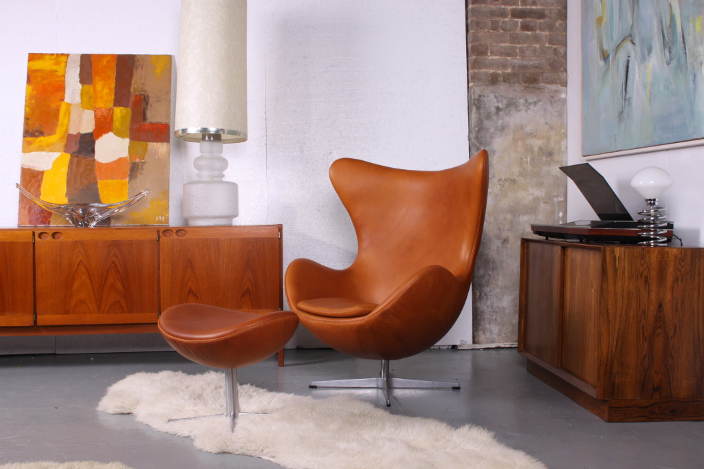 Arne Jacobsen Egg Chair and footstool in Cognac leather £7500 New  ( to order only )